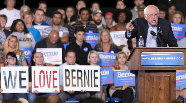 Democratic presidential candidate Sen. Bernie Sanders speaks during a rally in Greensboro, N.C., on Sept. 13. Sanders is gaining ground in primary state polls.
