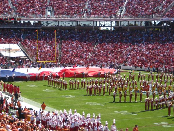 The University of Texas marching band performs before the 2010 OU-Texas matchup in the Cotton Bowl in Dallas.