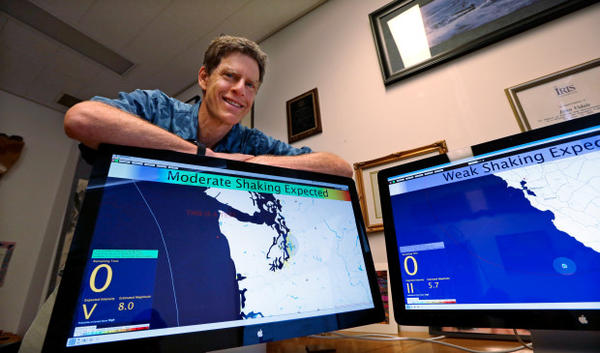 <p>John Vidale, director of the Pacific Northwest Seismic Network at the University of Washington, displays a beta version of an early warning system for earthquakes, in Seattle.</p>