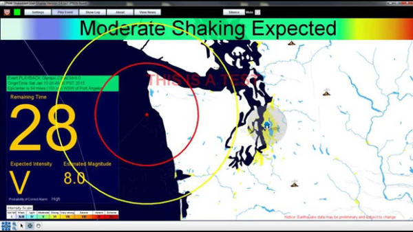 <p>Video still of the beta version of Shake Alert, an earthquake early warning system being developed by the USGS along with a coalition of university partners.</p>
