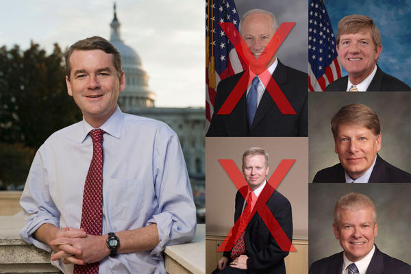 Who will face Sen. Michael Bennet? Mike Coffman and George Brauchler (lower middle) have said no. U.S. Rep Scott Tipton (top right) and state Senator Mark Sheffel are rumored picks, Tim Neville (bottom right) is running in 2016.