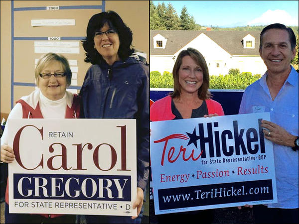 Democrat Carol Gregor, left, and Republican Teri Hickel are in a tight race for Washington's 30th legislative district House seat.