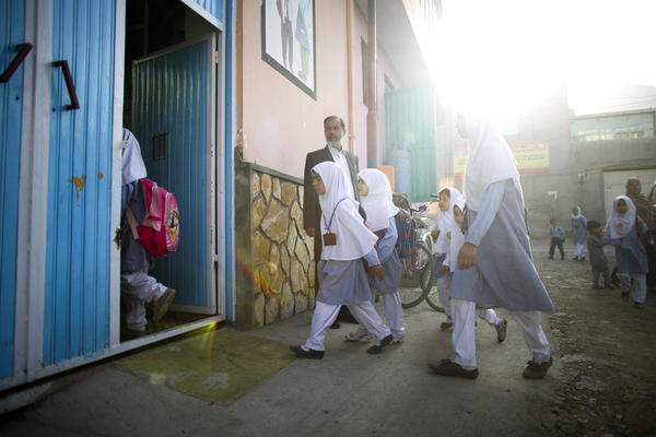 This is something you never would have seen under the Taliban: Girls walking to school.