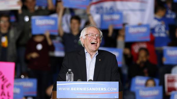 Sen. Bernie Sanders, I-Vt., laughs at a campaign event earlier this month. Sanders taped an appearance on the <em>Ellen</em> show, where he showed a lighter side.