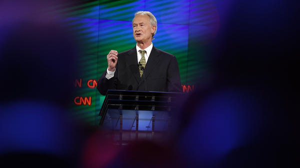 Former Rhode Island Gov. Lincoln Chafee speaks during the CNN Democratic presidential debate Tuesday in Las Vegas.