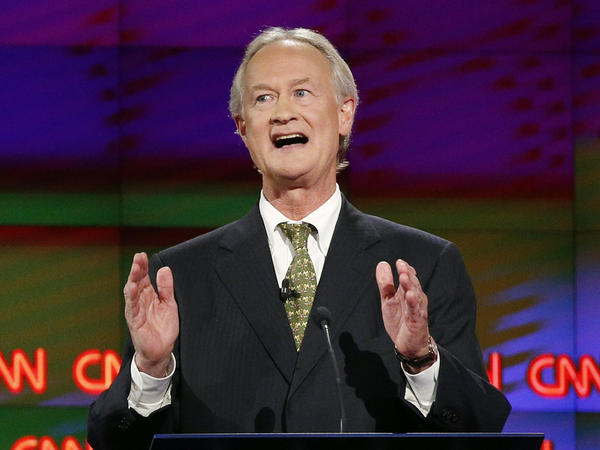 Former Rhode Island Gov. Lincoln Chafee at the first Democratic presidential debate Tuesday.