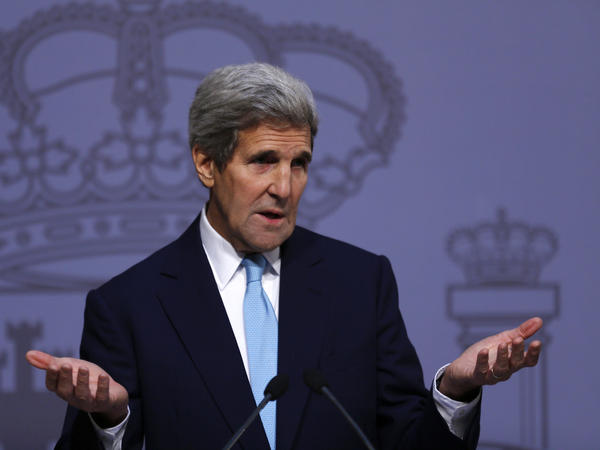 U.S. Secretary of State John Kerry speaking at a news conference in Spain. Kerry will attempt to strike the right balance in separate meetings later this week with Israeli and Palestinian leaders.