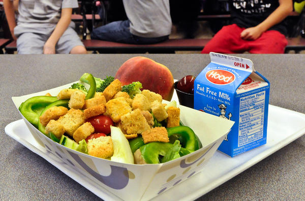 While schools are spending more on local food, it still makes up only a small portion of the average school meal. Here, a chicken salad at the cafeteria at Draper Middle School in Rotterdam, N.Y., in 2012.