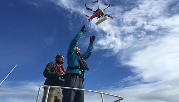 Biologist John Durban pilots the hexacopter into the hands of co-pilot Holly Fearnbach. The whale researchers, both with NOAA's Southwest Fisheries Science Center, used the drone to capture images of killer whales in order to assess their health.