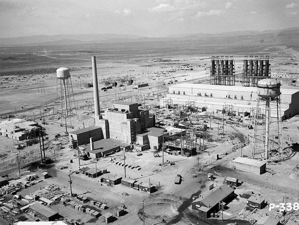 An aerial view of the Hanford B-Reactor site in June, 1944. An agreement establishing the Manhattan Project National Historical Park will be signed in November.