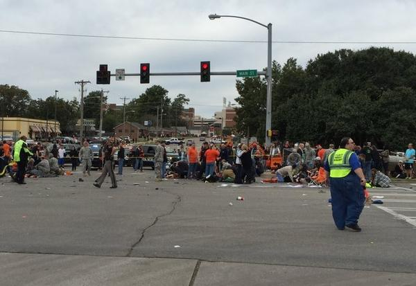 The scene at the intersection of Main Street and Hall of Fame Ave. in Stillwater following Saturday's car crash into the parade.