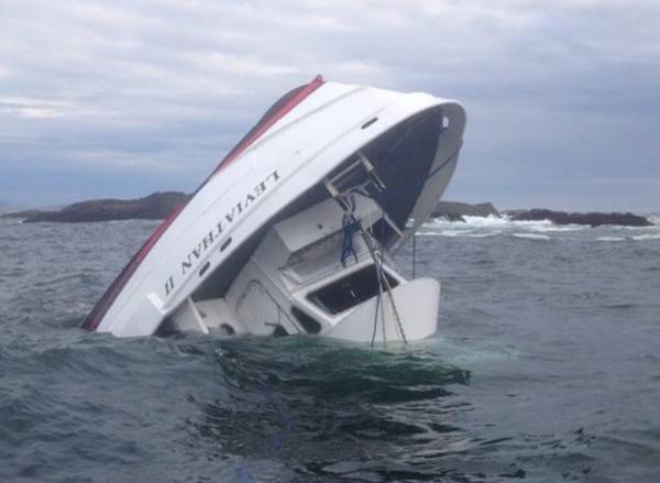 A rescuer's photo of the capsized whale watching boat Leviathan II near Tofino, British Columbia.