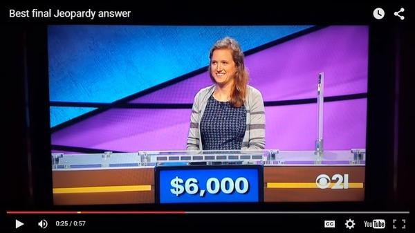 <em>All Things Considered</em> producer Becky Sullivan during her  <em>Jeopardy! </em>appearance<em>.</em>