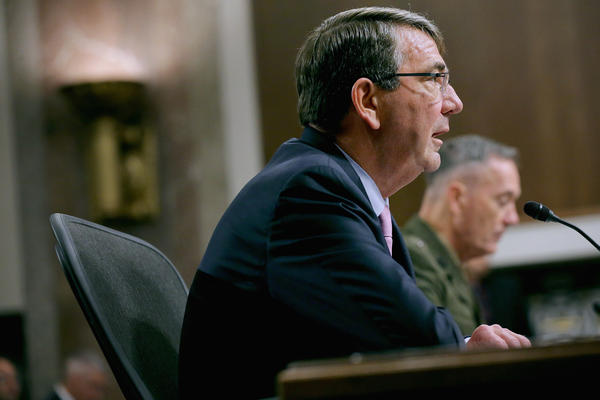 Defense Secretary Ashton Carter testifies before the Senate Armed Services Committee about the U.S. military on Tuesday.