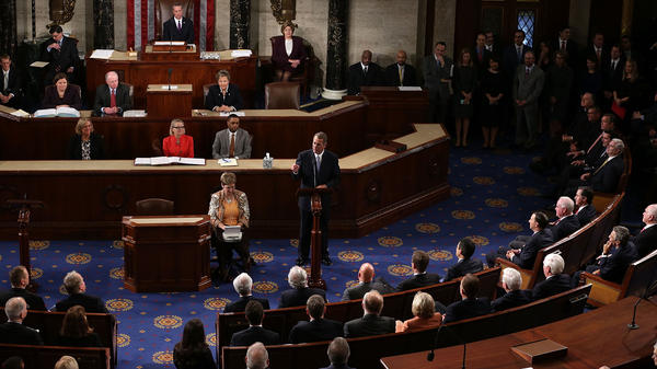 Outgoing Speaker John Boehner gives his farewell speech in the House chamber Thursday.