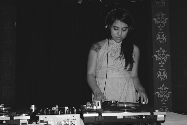 Claudia Saenz, one of the four DJs in the Chulita Vinyl Club, at an event last December.