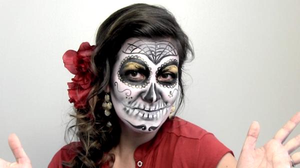 Producer Laura Rice becomes 'La Catrina' for Día de los Muertos. Makeup by Lauren Garcia.