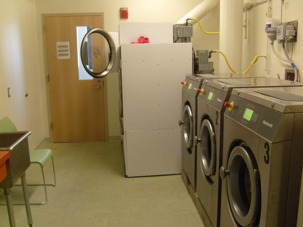 There is a laundry facility on each floor for families to use.