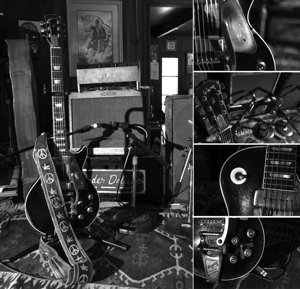 Neil Young's faithful guitar, Old Black, and his amps in 2012. <strong> </strong>
