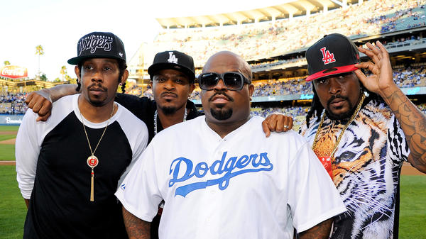 Goodie Mob (from left to right, Big Gipp, T-Mo, Cee Lo Green and Khujo) at a Dodgers game the day the group's first album in 14 years was released.