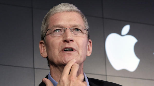 "Apple CEO Tim Cook speaks in New York on April 30. This week, he said some of Silicon Valley's most prominent companies have ""built their businesses by lulling their customers into complacency about their personal information."""
