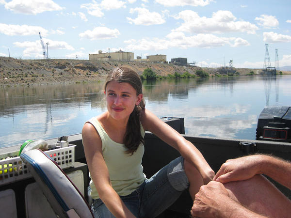 Liz Mattson is seen on a 2009 educational boat trip that takes people out on the river to talk about the site and learn about Hanford.