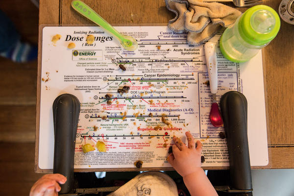 Mazey Hodapp snacks off of a placemat of a Dose Ranges Chart compiled by the Department of Energy's Low Dose Radiation Research Program.