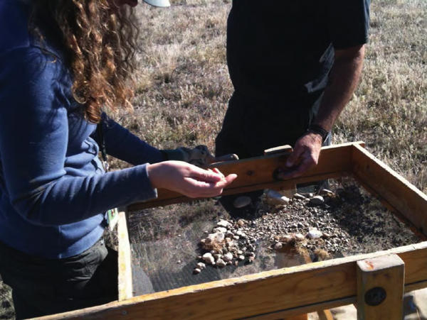 Ellen Prendergast Kennedy works on an archaeological testing project at the Hanford nuclear reservation with co-worker Eric White in 2010.