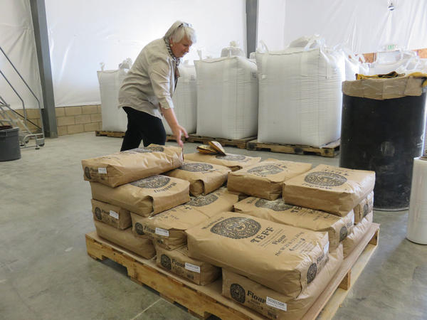 The Teff Company co-founder Elisabeth Carlson in the flour mill in Nampa, Idaho.