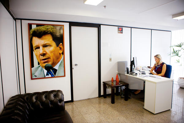 The waiting room at Cassol's Senate office in Brasilia.
