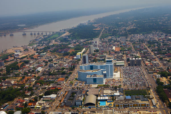 """Porto Velho is the capital of the western Brazilian state of Rondonia. The gray buildings in the center of the photo are government offices built when Ivo Cassol was the governor. They spell out his initials, """"IC."""""""