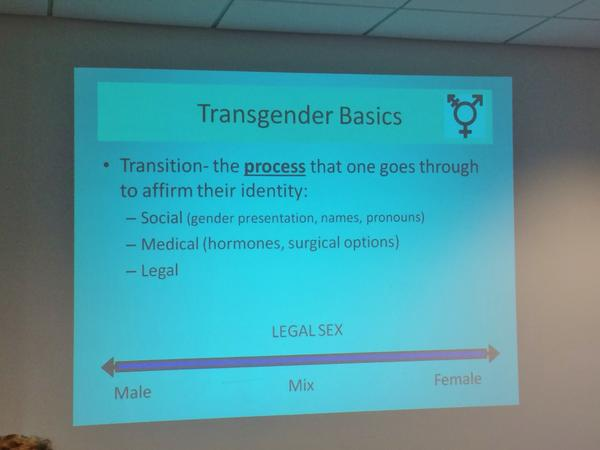 One of the first slides in Jayeson Watts' training presentation for nurses; later, he goes over changes to the electronic medical record system, office procedures, and even how to bill insurance for transgender care.