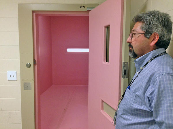 Al Nerio, a residential program director at the Special Commitment Center, stands at the door of the ''pink room.'' It's a rubberized room where residents who are self-harming are sometimes held.