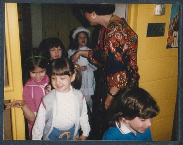 Frannie Smith enters kindergarten under the watchful eyes of Mrs. Goldberg in 1984.