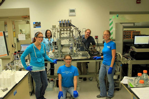 ''One of my favorite things about research is working as a team,'' said Frannie Smith. She's seen here with 'Team Neodymium' during an experiment in the Radiochemical Processing Laboratory in 2011.