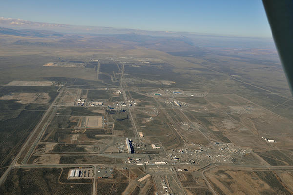 An aerial view of the Central Plateau at the Hanford Nuclear Reservation.