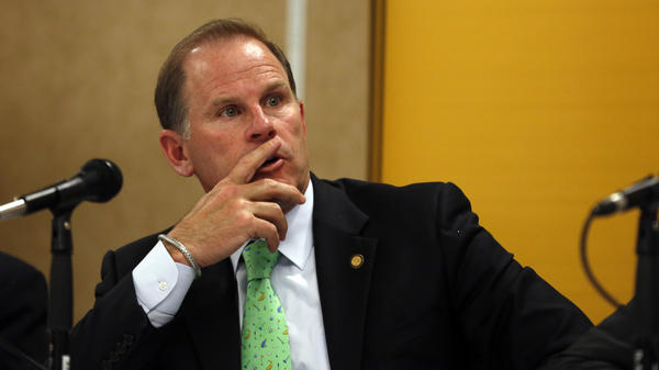 University of Missouri System President Tim Wolfe, seen at a news conference last year in Rolla, Mo., announced his resignation Monday following a meeting of the University Board Of Curators.