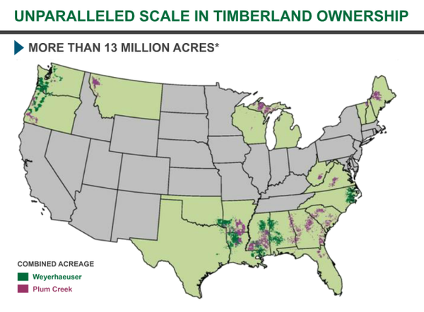 <p>This graphic provided by Weyerhaeuser illustrates how its merger with Plum Creek will give the company owner 7.3 million acres of timberland in the South and 3 million acres in the Northwest.</p>