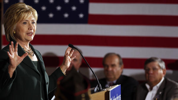 "Hillary Clinton during a campaign stop in Derry, N.H. She was there to talk about veterans issues, but a man who said he wanted to ""strangle"" Republican Carly Fiorina is getting all the attention."