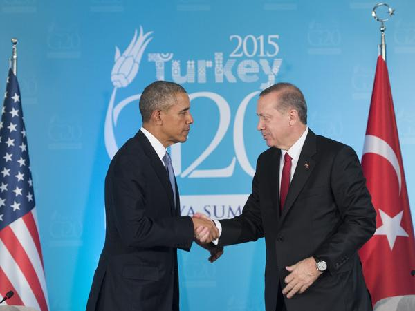 Turkish President Recep Tayyip Erdogan and President Obama shake hands during a meeting on the sidelines of the G-20 summit in Antalya on Sunday.
