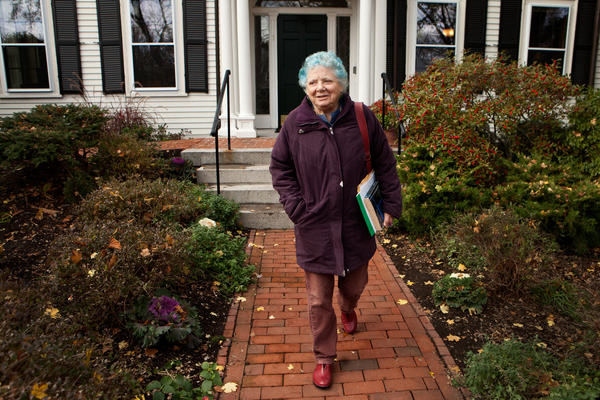 Anne Bernays leaves the Walter Lippmann House after teaching a fiction writing class for Nieman Foundation fellows at Harvard University in Cambridge, Mass.