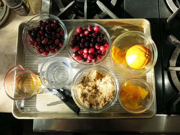 The makings of a cranberry-orange chutney