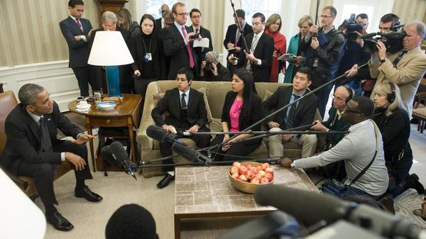 President Obama speaks about immigration reform during a meeting with young immigrants in the White House on Feb. 4. The president's 2014 executive actions on immigration have been caught up in a legal dispute, which the White House has appealed to the Supreme Court.