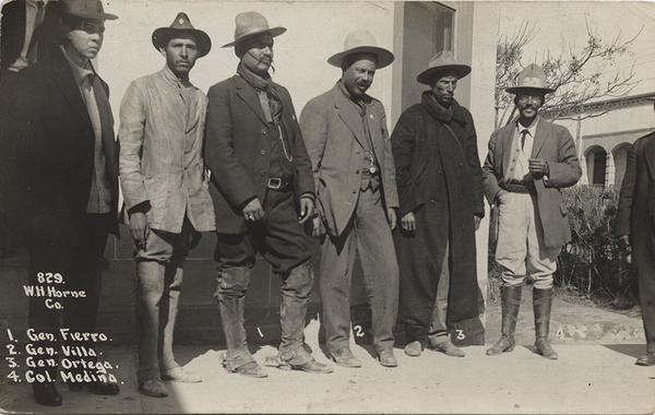 General Pancho Villa with other Mexican generals and American troops in Mexico, circa 1910.