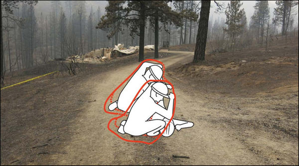 A depiction of how two firefighters and a dozer operator survived the wildfire with just two foil fire shelters between them. The remnants of a house they were trying to protect is in the background.
