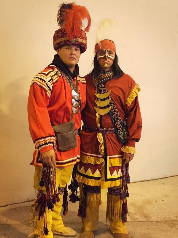 "There have been 16 Osceola re-enactors at FSU since 1977. Kyle Doney, left, is deputy director of the Native Learning Center in Hollywood, FL, and on FSU's Alumni Board. Usually, Osceola alone throws the flaming spear into mid-field, but Doney, a 2007 FSU grad and tribal member, has assisted four times in the pre-game ""Tradition of Tribute."""