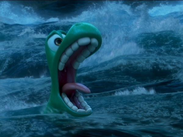 Arlo, an 11-year-old Apatosaurus, is swept away by a raging river in the Pixar film <em>The Good Dinosaur</em>