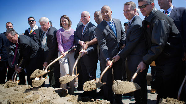 Massachusetts Gov. Deval Patrick joined state officials, clean energy advocates and union representatives to break ground for the New Bedford Marine Commerce Terminal.