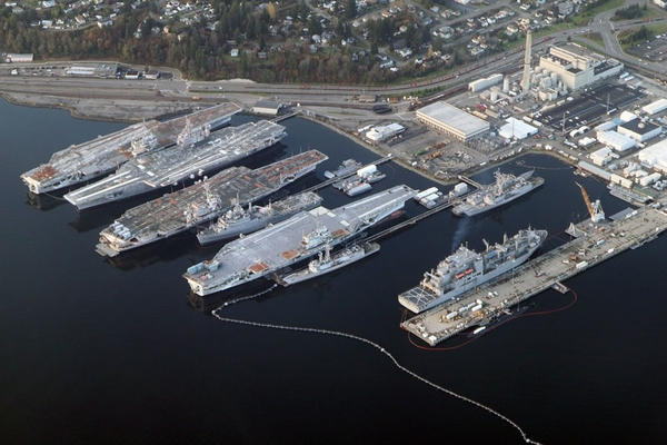 In this 2012 aerial view of the Puget Sound Naval Shipyard, the aircraft carriers Independence, Kitty Hawk, Constellation and Ranger are visible. The Ranger and Constellation have since been scrapped.