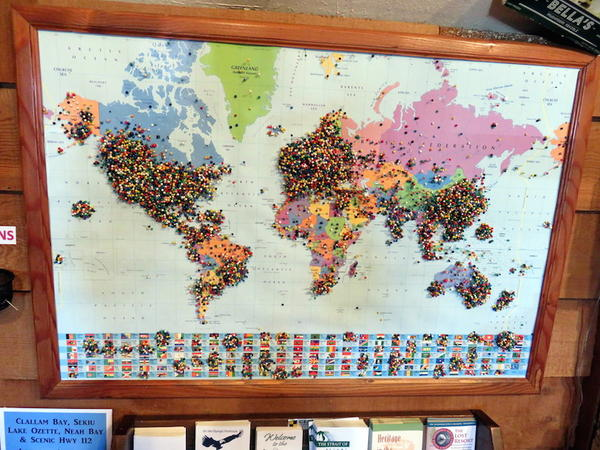 At the Forks Visitor Center, a push pin map to display hometowns of Twilight pilgrims indicates a worldwide fan base.